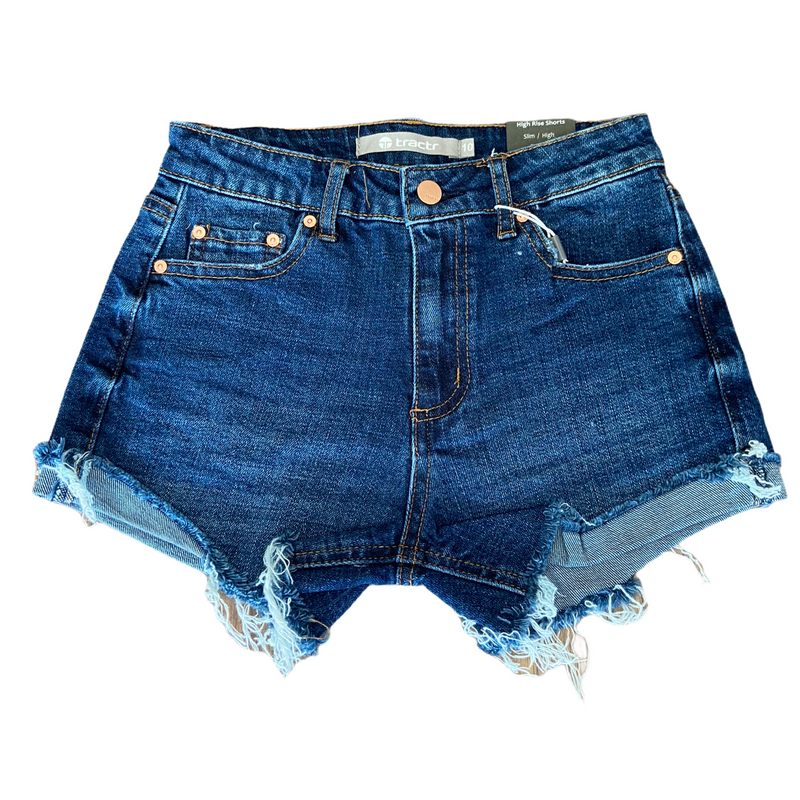 Tractr Girls - High Waist Fray Hem Short