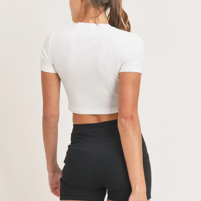 Essential Micro-Ribbed Cropped Tee