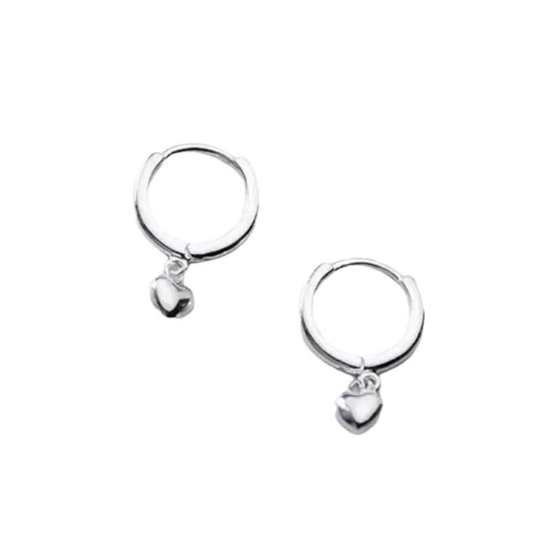 Mini Heart Silver Earrings-Pair