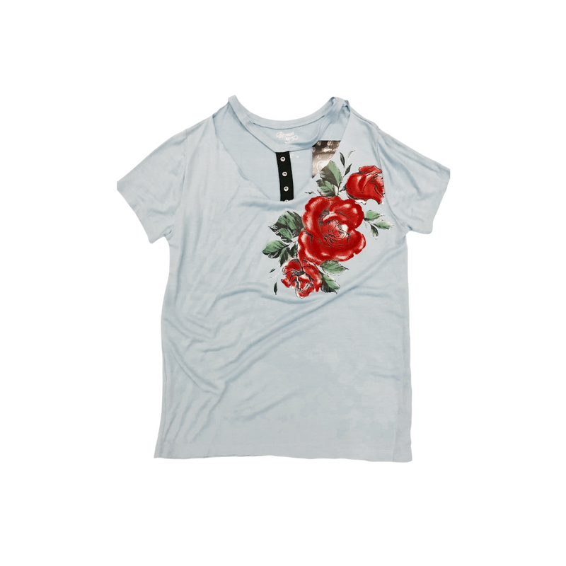 Fbz light blue tee with roses chest rivited strap