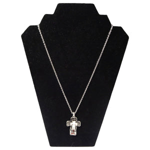 Black and Silver Cross Necklace