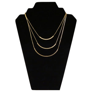 3 Tiered Short Gold Chain Necklace
