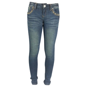 Leopard and Rhinestone Straight Leg Jeans