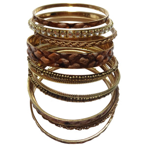 Assorted Gold and Brown Bracelets