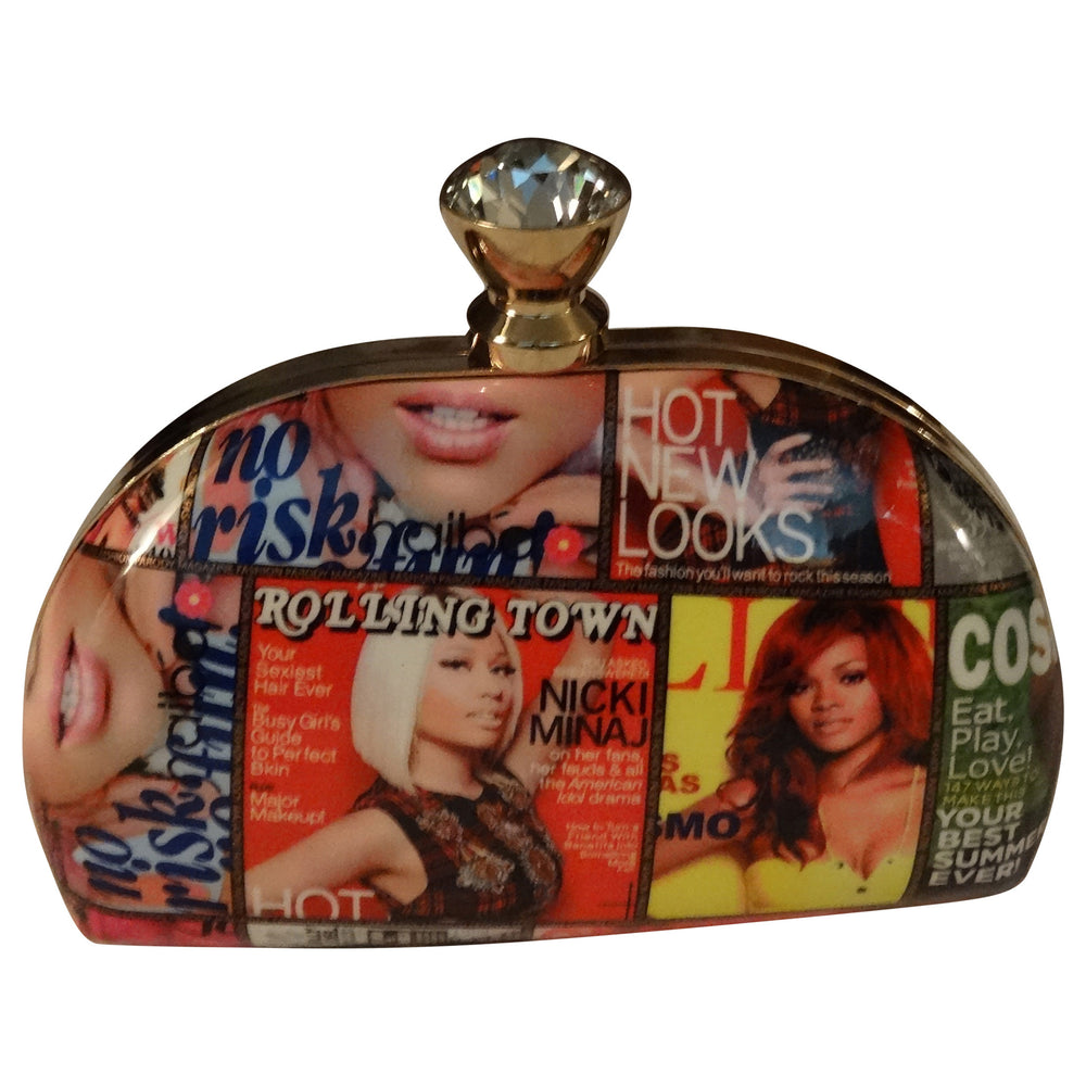 Small Magazine Bag with Rhinestone Closure