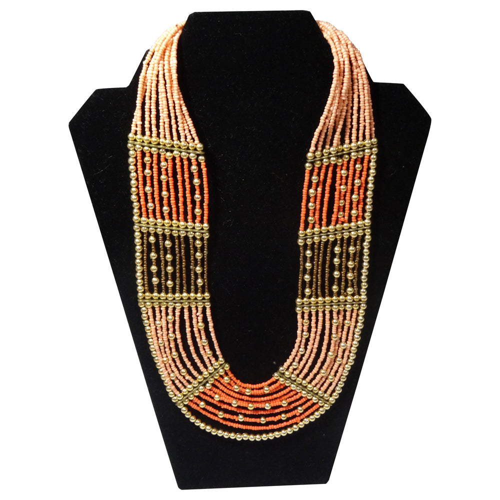 Wide Beaded Necklace with Earrings