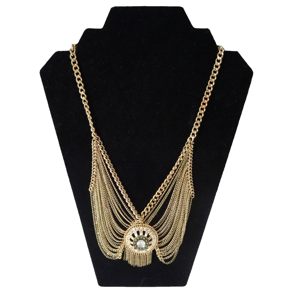 Gold multi chain necklace with Rhinestone