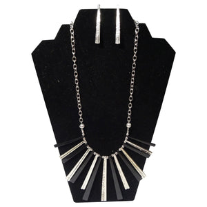 Black and Silver Necklace with Earrings