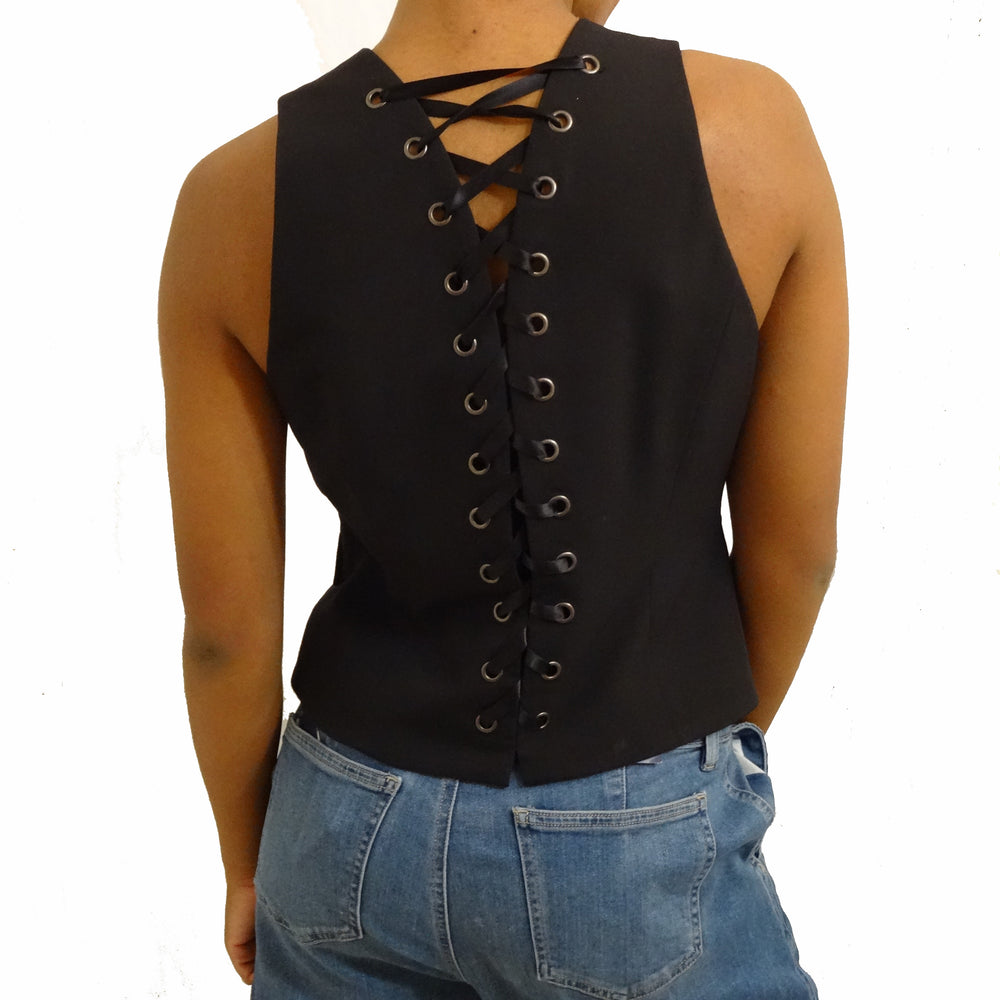 Chi-Wee's Treasure Andrea Behar Black Vest with Back Lace Up: Size Medium