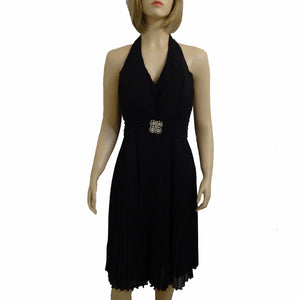 Chi-Wee's Treasure Aspeed Evening Pleated Halter Dress: Size Large