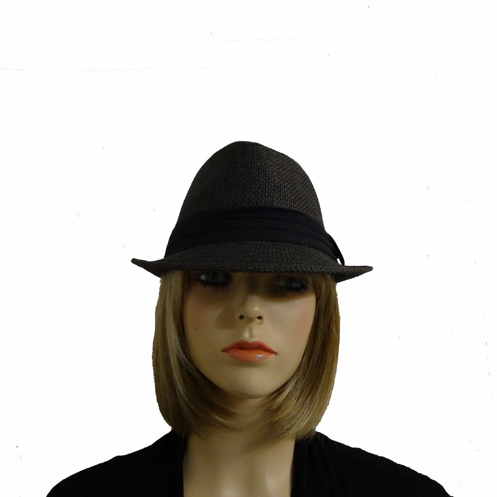 Dark Grey Fedora with Black Trim