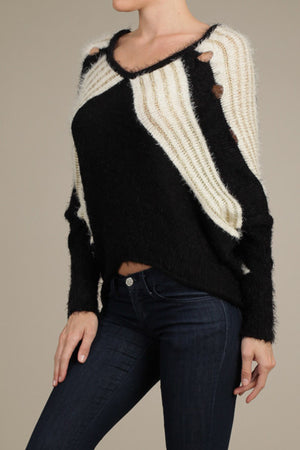 Soft Fuzzy Knit Dolman Sleeve Top with Lurex Contrast Thread
