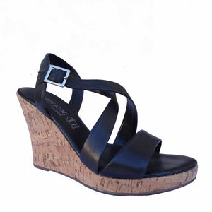 Chi-Wee's Treasure Cathy Jean Leather Wedge Sandals: Size 7
