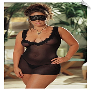 Dreamgirl Mesh Sleepwear Babydoll with Mask and G-String Panties
