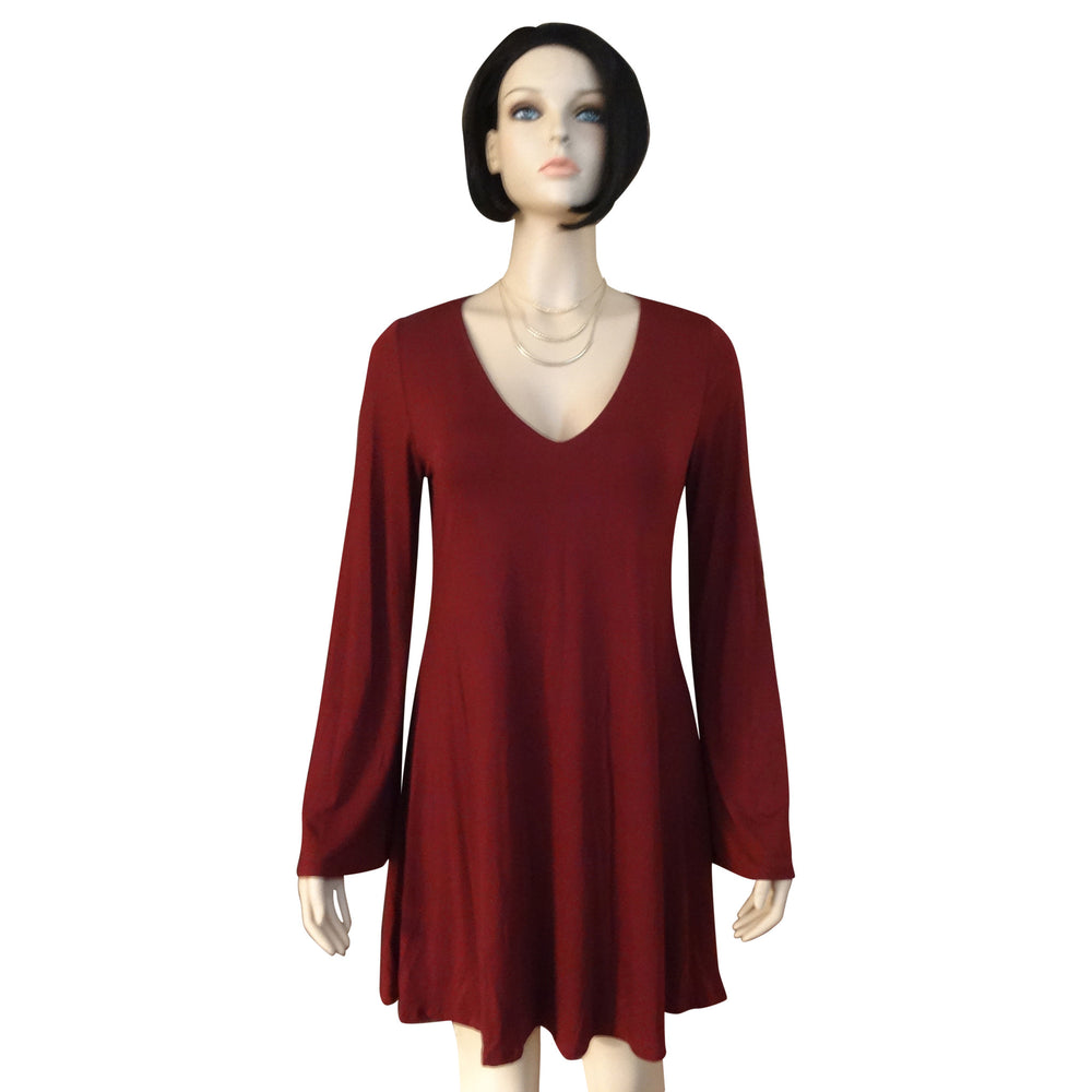 Bell Sleeve V Neck Dress