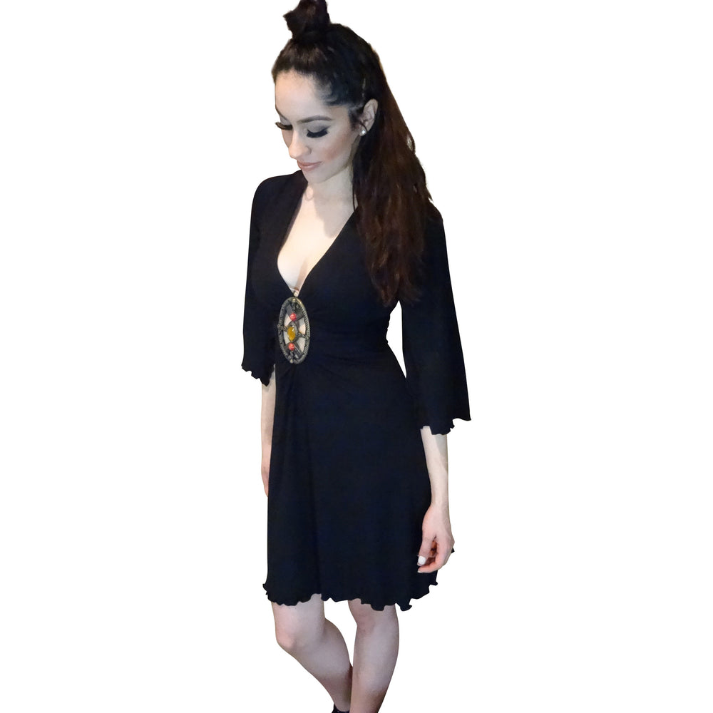 Black Dress with Metal Accent