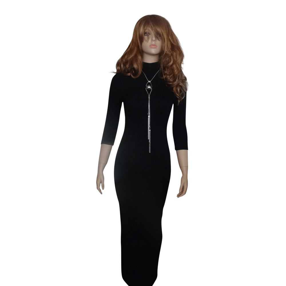 Black High Collar Dress 3/4 Length Sleeves with Back Split