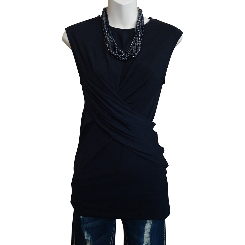 Sleeveless Cross Waist Top