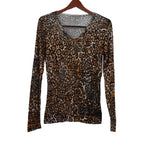 Chi-Wee's Treasure Animal Print Light Weight Sweater with Beaded Neck: Size Large