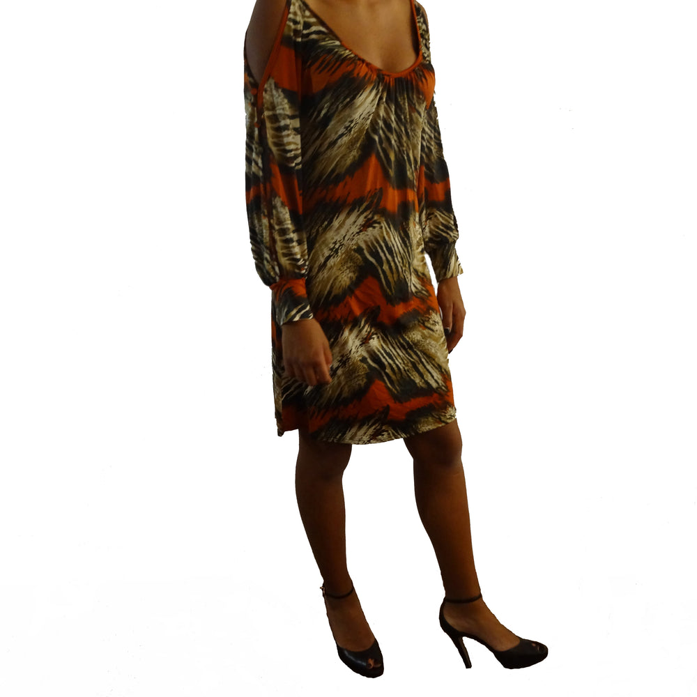 Print Fab Dress with Open Button Sleeve and Cuff H-Line