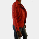 Faux Leather Coral Jacket with Zipper Quited Accents