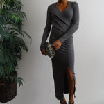 Ribbed Cross Front Maxi Dress with Front Split