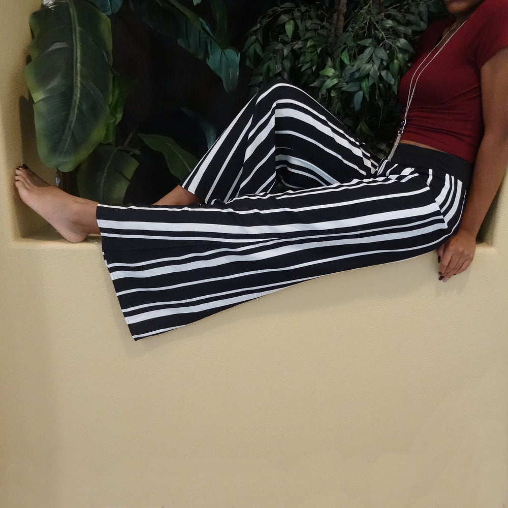Black & White Striped Buckle Back Pants