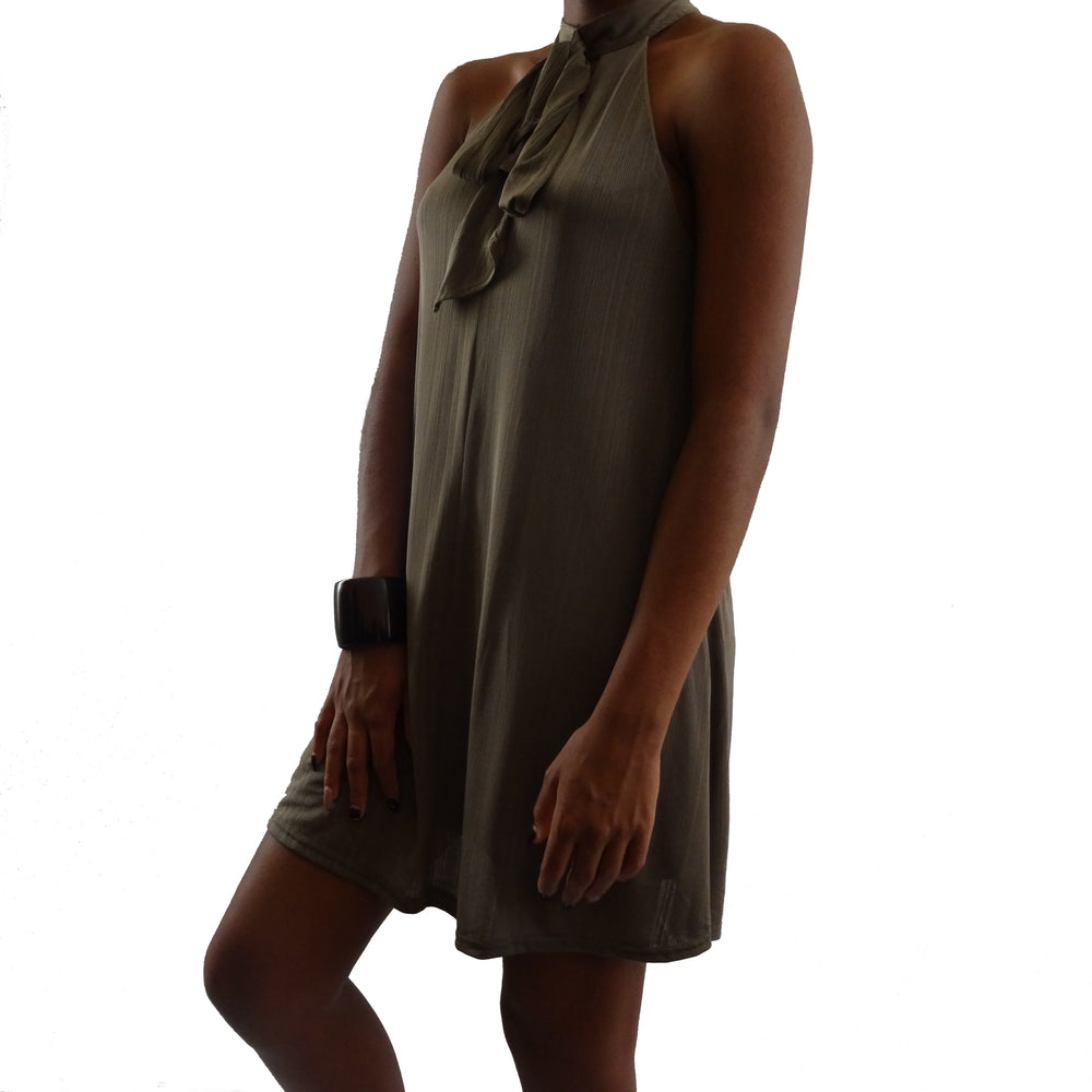 Sleeveless Neck Tie Dress