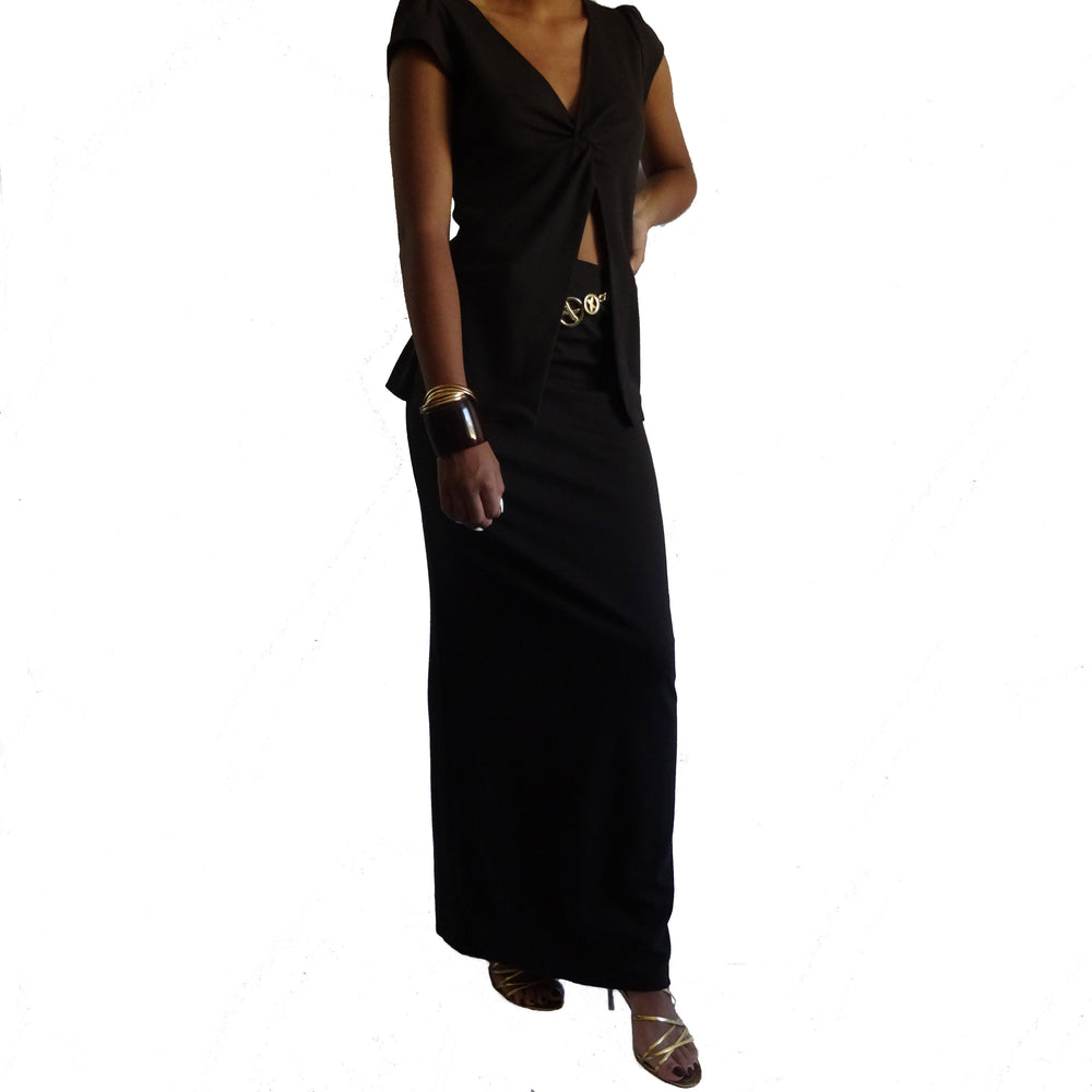2 Piece Open Front Top With Long Skirt With Back Split