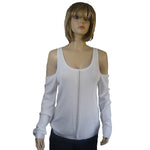 Open Shoulder Sweater with Silver Front Trim