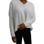 Eyelet Fuzzy Ribbed Dolman Sleeve Sweater with Back Chain Detail