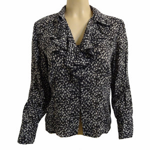 Chi-Wee's Treasure Liz Claiborne Silk Ruffled Front Blouse: Size 12