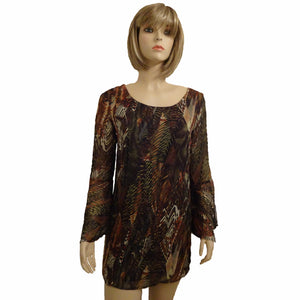 Chi-Wee's Treasure Multi-Color Dress with Sheer Sleeves: Size  Small