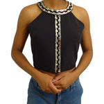 Chi-Wee's Treasure Fora Beaded Crop Top: Medium