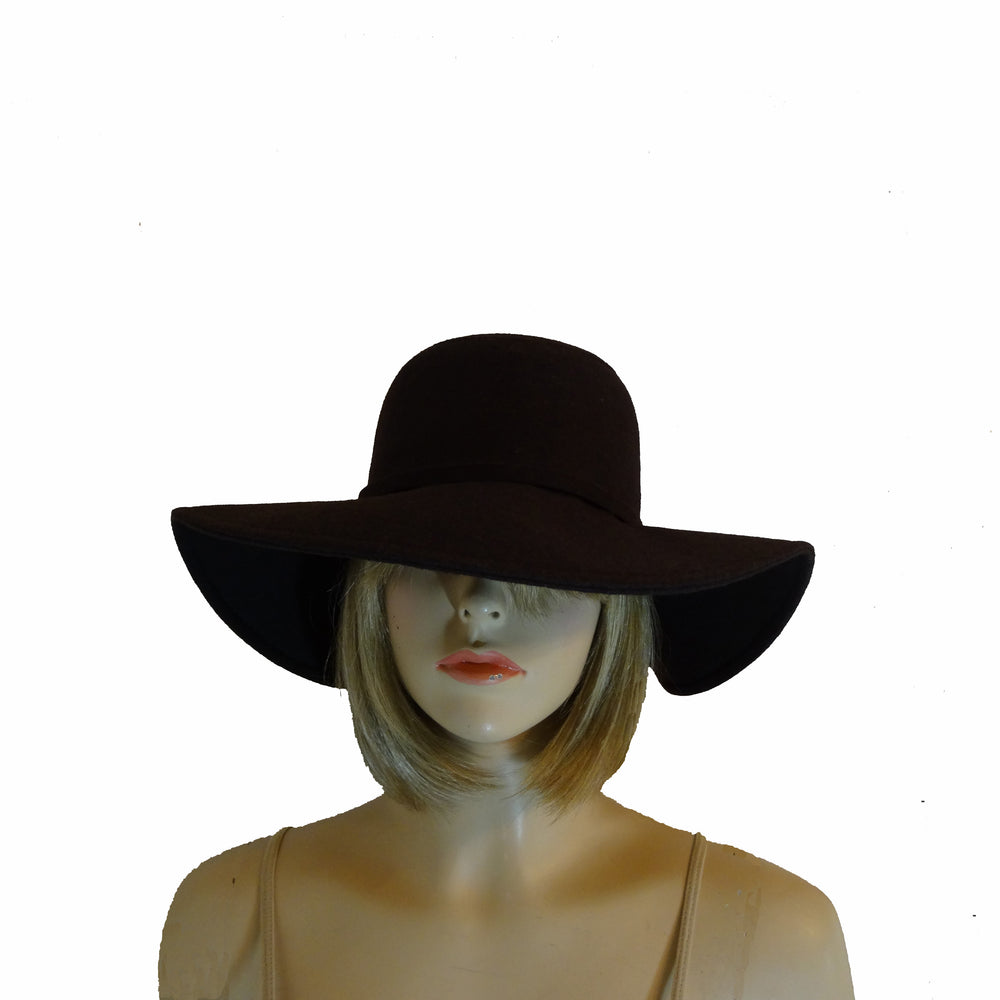 Brown Wide Rim Brim Hat