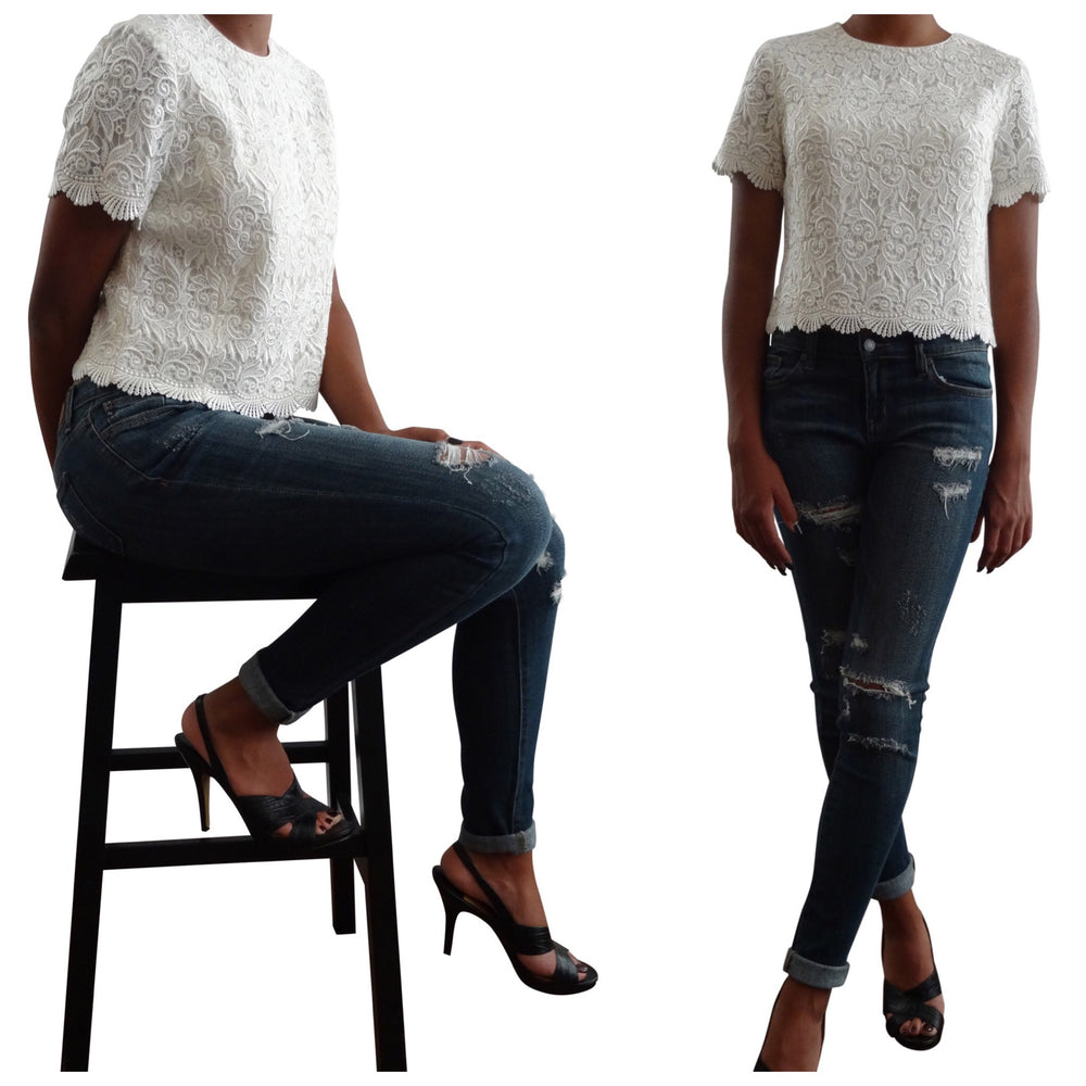 Laced Top with Button Down Back: Pre-Owned