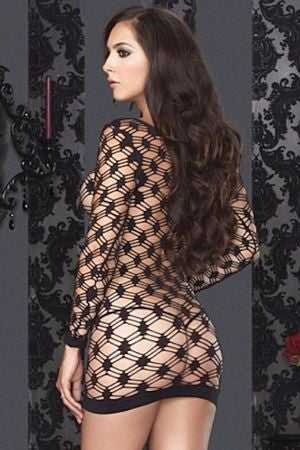 Leg Avenue Hardcore Net Long Sleeve Mini Dress