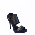 Chi-Wee's Treasure Black Leather Report Signature Heels: Size 8