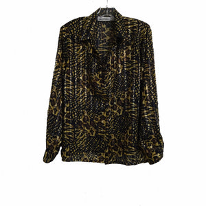 Chi-Wee's Boutique Yves St.Clair Button Down Black and Gold Blouse: Size 14