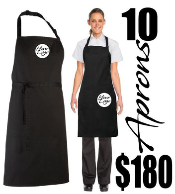 Restaurant Aprons 10 PACK - customised with your Business  logo - aussie-shirt-co