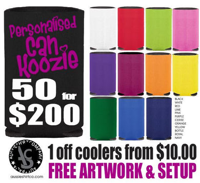 Can Coolers Pack of 50 Custom Print your design or we design for you. - aussie-shirt-co