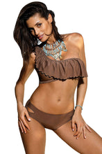 Load image into Gallery viewer, One Shoulder Swimsuit with Ruffles - Brown or Black