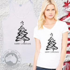 Womens  Mens Christmas T-Shirts and Tanks - Abstract Tree