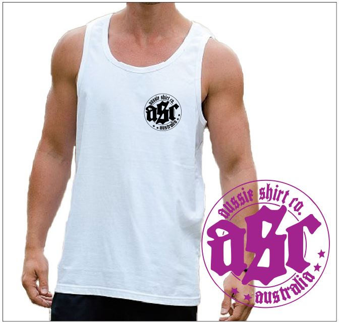 Tank Top - Mens White Tank with black  Logo -  ASC T-Shirts - aussie-shirt-co