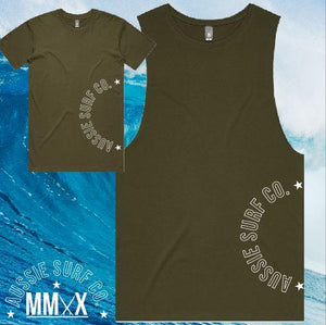ASC MMXX Side Print Khaki/White Tee or Muscle