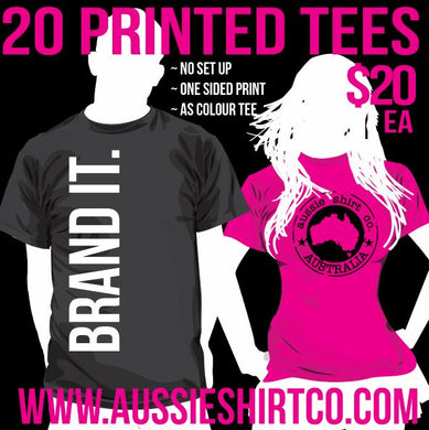 T-Shirt Print Package - 20 Shirts Front or Back Print - Design Your Own - AS Colour Tee