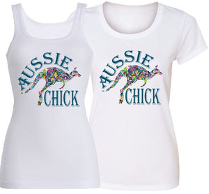 T-Shirt Tank or Cut Sleeve - Aussie Chick Kangaroo - ASC T-Shirts - aussie-shirt-co