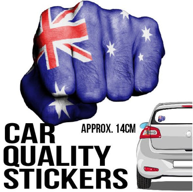 Aussie Flag Fist - Sticker - Car or Wall Decal - ASC - aussie-shirt-co