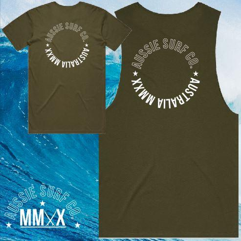 ASC MMXX Circle Print Khaki/White Tee or Muscle