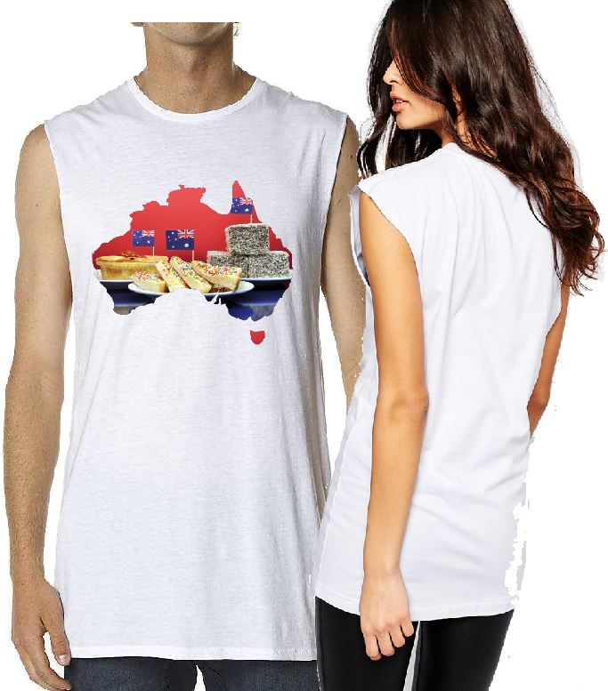 T-Shirt Tank or Cut Sleeve - Australia Food Map - ASC T-Shirts - aussie-shirt-co